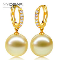 MYDEAR Old Fashion Women Gold Hoop Earrings Classic Saltwater Pearl Earrings