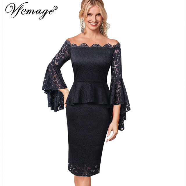 54a0bafc9dd Vfemage Womens Sexy Off Shoulder Floral Lace Ruffle Flare Bell Sleeves Peplum  Cocktail Wedding Party Bodycon Sheath Dress 9321