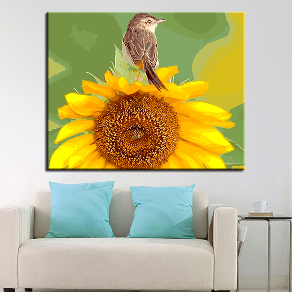 Fashion Canvas For Home Decor Modern Wall Art Sunflower Picture DIY ...