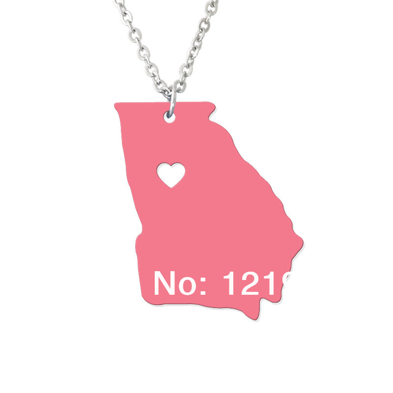 State jewelry - I heart Georgia Necklace - Map Pendant - State Charm - Personalized Georgia Map Heart necklace