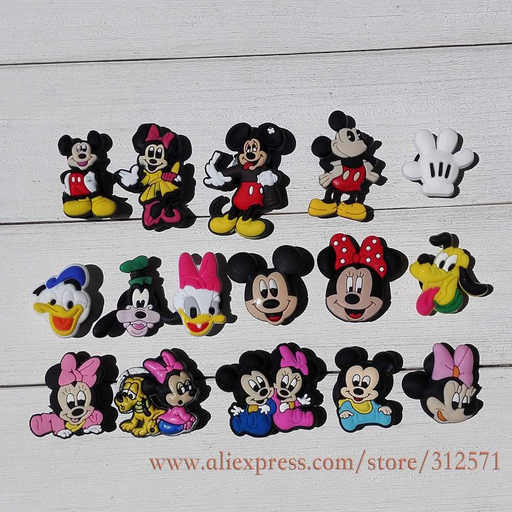 Mix styles 32Pcs Mickey and Minnie PVC shoe accessories shoe charms For Silicone Wristbands&shoes with holes kids toy gifts impression management and ego styles