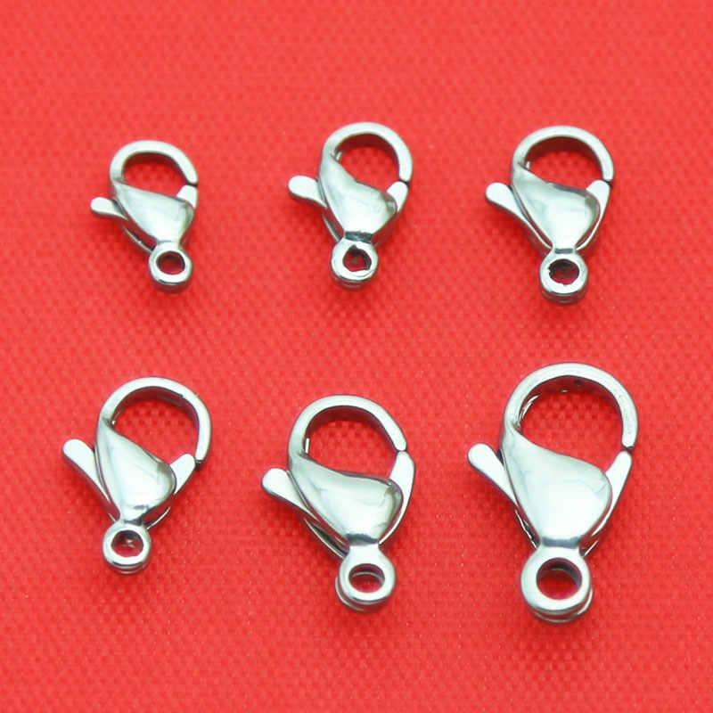Sprzedaż hurtowa 316 ze stali nierdzewnej srebrny zapięciem homara pazur biżuteria hak ustalenia wyślij 10 sztuk Lobster pierścień jako prezent