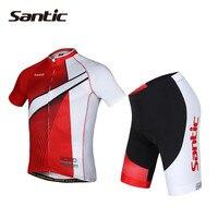 SANTIC Велоспорт Трикотажные Устанавливает анти пот Для мужчин Велоспорт костюм Лето с коротким рукавом велосипед майки скафандр быстросохну