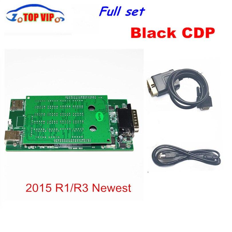 2016,00 новые SoftwareTCS CDP Pro черный CDP vci для автомобилей и грузовиков с светодиодный кабель и функции полета без bluetooth