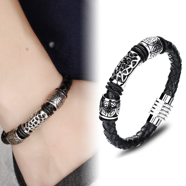 Casual men jewelry Black Braided mens leather bracelets Bangles stainless steel bracelet men Handmade