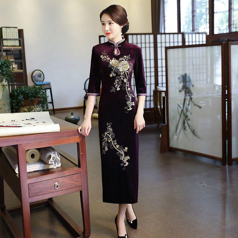 New Arrival Women's Long Cheongsam Fashion Chinese Style Velour Dress Elegant Slim Qipao Vestido Size S M L XL XXL XXXL 4XL 9986 женское платье wm 2015 m l xl xxl xxxl 4xl 5xl 6xl r wyd005