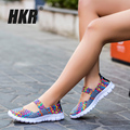 HKR 2017 spring breathable women fashion flats Shoes light flat loafer shoes Cheap Walking flats weave shoes for women 599