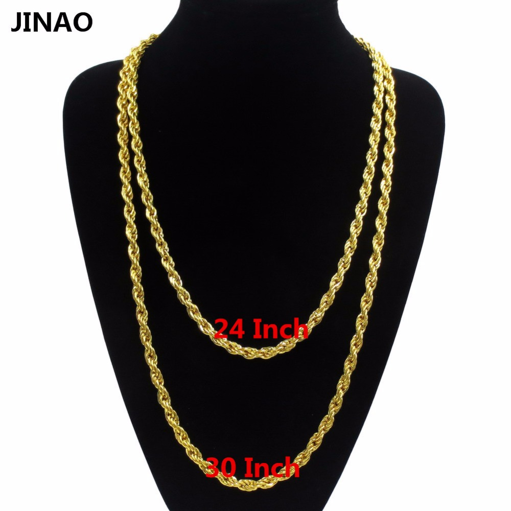 Jinao Gold Tone 6 Mm 24 Inch 30 Inch D Cut Rope Chain Hip