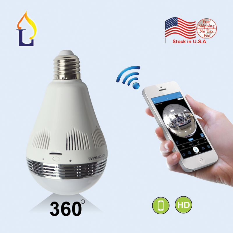 us warehouse 1.44mm lens smart 360 view camera SD card recording infrared night vision cctv wireless light bulb security camera eazzy bc 688 bulb cctv security dvr camera auto control light and recording motion dection night vision circular storage
