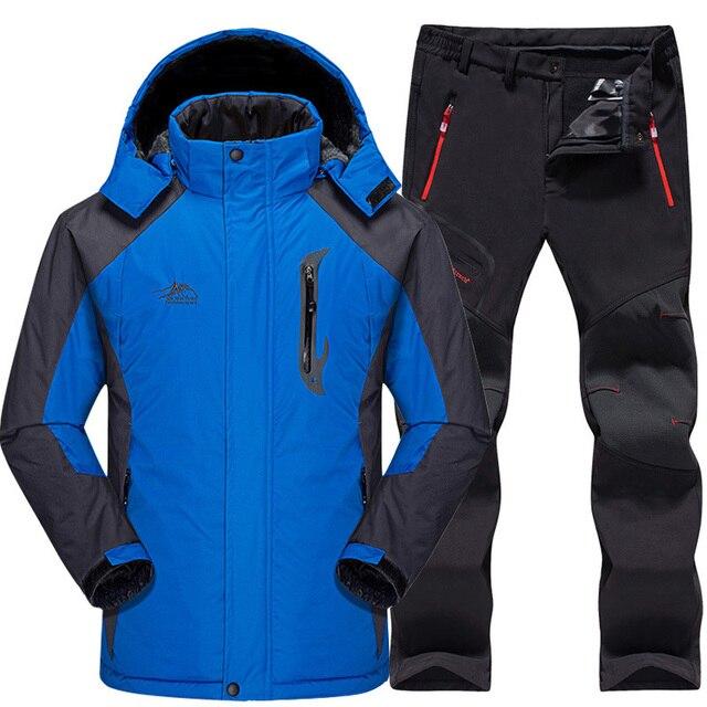 Лыжный костюм для мужчин непромокаемые термальность сноуборд флисовая куртка + брюки для девочек мужской горные Лыжный спорт и сноуборд