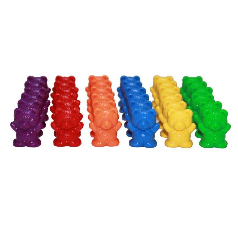 1 набор, счетные медведи, штабелирование чашек-Монтессори, радужная игра, обучающая Сортировка цветов, игрушки для малышей