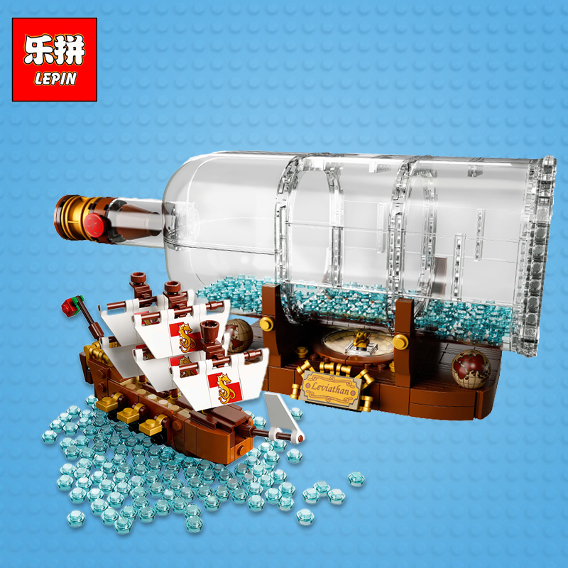 Lepin 16051 Ideas Ship in a Bottle Creative Pirates of the Caribbean Pirates Series 21313 Building Blocks Bricks Kits Funny Toy lepin 16006 movie series pirates of the caribbean the black pearl set diy model building kits blocks bricks children toys lepin