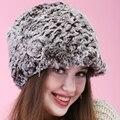 Caliente mostrar 2015 mujeres Beanie invierno hechos a mano rayas de piel de conejo Rex sombreros del sombrero de piel caliente suave lindo rose hermosa grueso de punto gorros