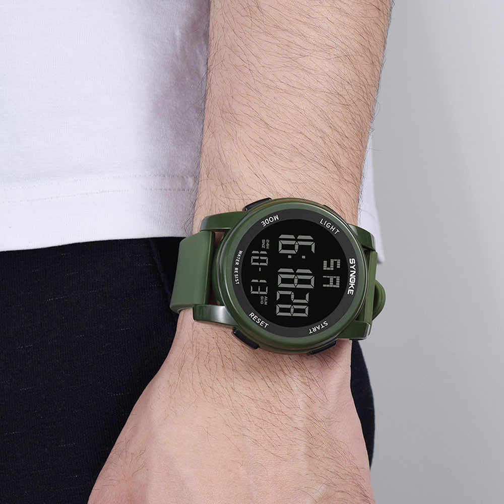 Hot Men Sport watches Multi Function Military  Sports Watch LED Digital Dual Movement Rubber Wrist Watch 2019