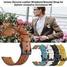 20mm Leather Replacement Wristwatch Band Top Layer Real Leather Watch Strap For Garmin Vivoactive 3/Vivomove HR