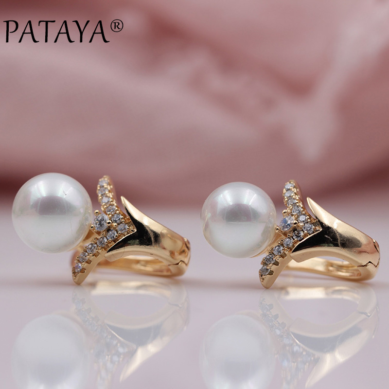 PATAYA New 585 Rose Gold Micro-wax Inlay Natural Zircon Sea Shell Pearls Dangle Earrings Women Party Flower Shape Fine Jewelry