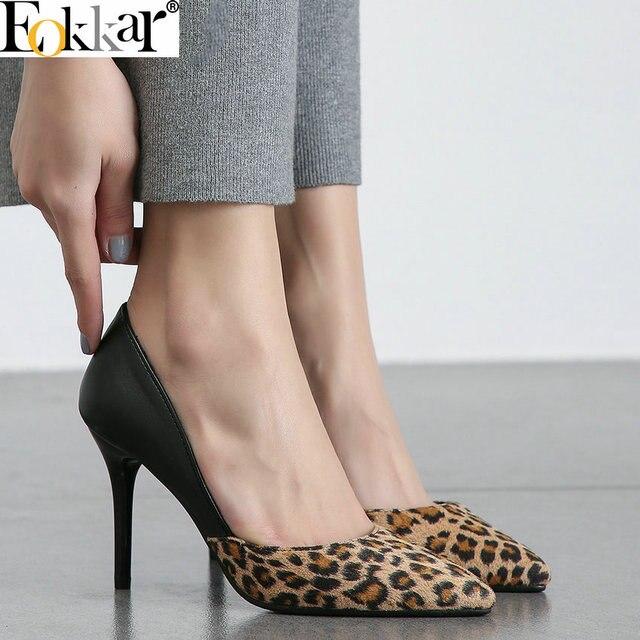 Eokkar/2019 женская обувь, вечерние туфли-лодочки, женские туфли-лодочки, тонкий высокий каблук, Леопардовый принт, острый носок, сексуальные женские туфли, большой размер 34-45