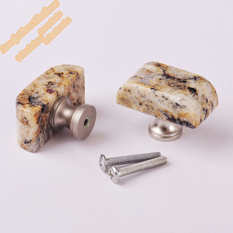 40mm Gold Square Knob Handle 5pcs Santa Cecilia Stone Bedroom Furniture Hardware For Drawer Cabinet