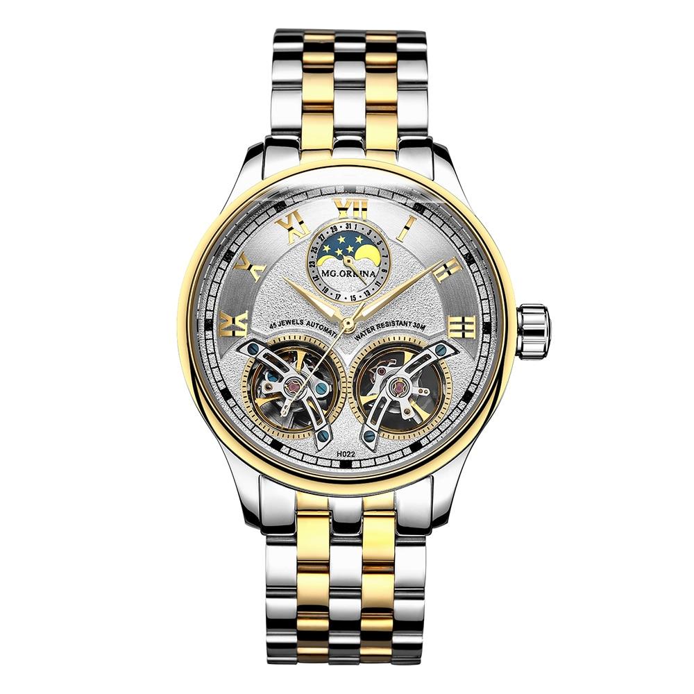 2019 ORKINA podwójne zegarki mechaniczne z tourbillonem mężczyźni Top marka luksusowe automatyczny zegarek mechaniczny mężczyźni zegar zegarek na rękę dla mężczyzn w Zegarki mechaniczne od Zegarki na  Grupa 3