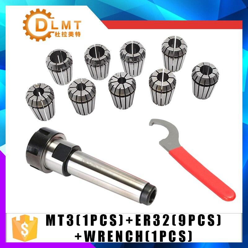 9pcs ER32 Spring Collets + 1PCS MT3 M12 ER32 Collet Chuck Morse Taper Holder For CNC Milling Lathe Tool