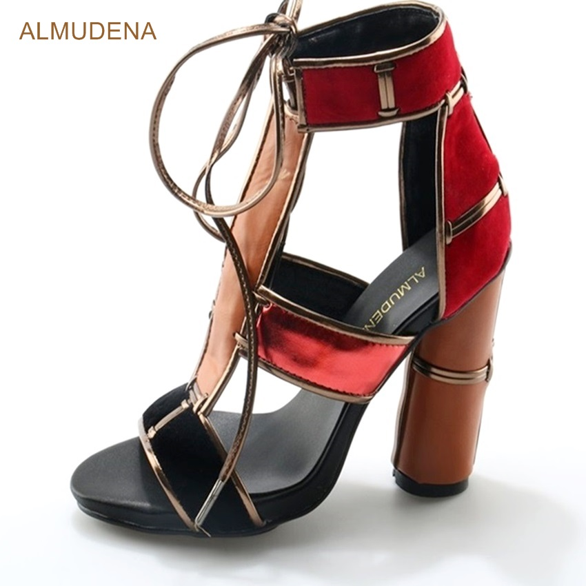 ALMUDENA Women Chunky Heel Dress Sandals Red Suede Orange Thick Heel Patchwork Gladiator Shoes Lace-up Criss Cross Strap Sandals