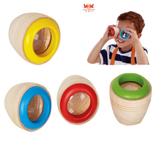 Wooden magical kaleidoscope Cute wood Montessori educational font b toys b font Magical bee eye effect