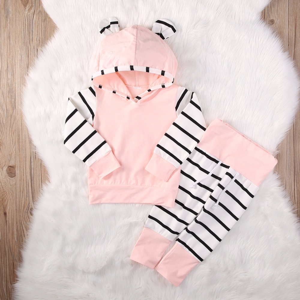 Kids Clothes Cute 2 Piece Cotton Newborn Infant Baby Boy Girl Arrow Hoodie Tops+Pants Outfits Clothes Set Spring & Autumn cute newborn infant baby girl boy long sleeve top romper pants 3pcs suit outfits set clothes