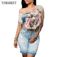 New Summer Sexy Crop Tops Women Stylish Printed Tassel Short T Shirt Street Style One Shoulder