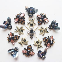 bee rhinestone beaded patches, sew on stickers for clothes applique pat