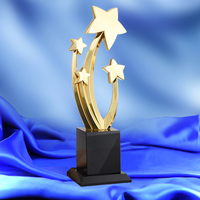 Stars Shaped Metal Trophy With Crystal Base Souvenirs World Cup Athletics Champions Rewards Movie and TV Prize Ceremony Awards
