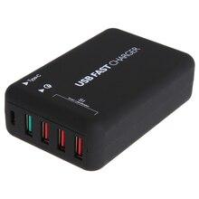 Мини Портативный Универсальный Зарядное устройство 1 Тип c 4 USB Порты и разъёмы быстро Зарядное устройство Питание зарядки Travel Adapter ЕС Разъем для мобильного телефон