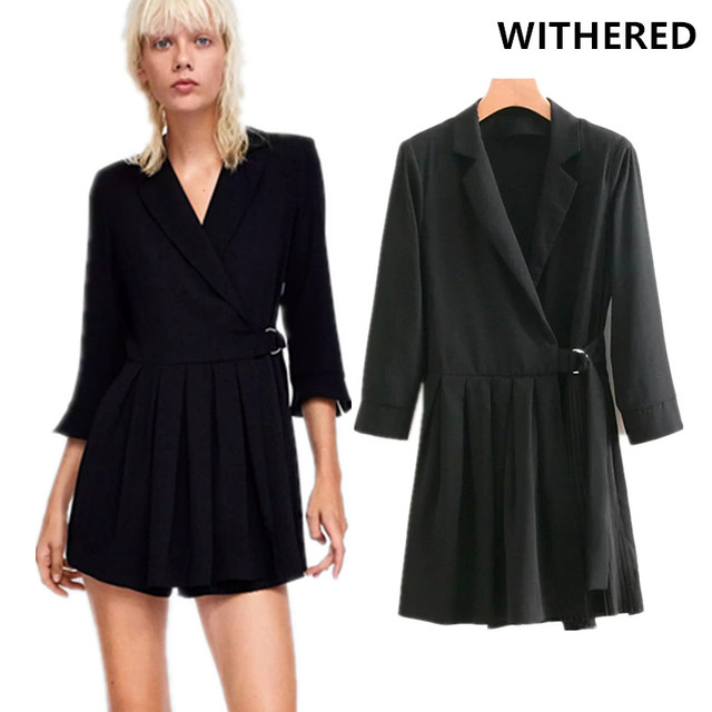 043b818488a Withered playsuits women england urban long blazers suits notched black  pleated sashes collect waist sexy playsuits plus size