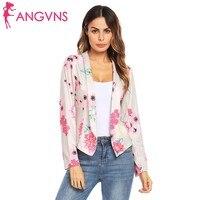 ANGVNS Women Floral Blazer Autumn Long Sleeve Lapel Floral Front Open Stitch Slim Office Lady Short