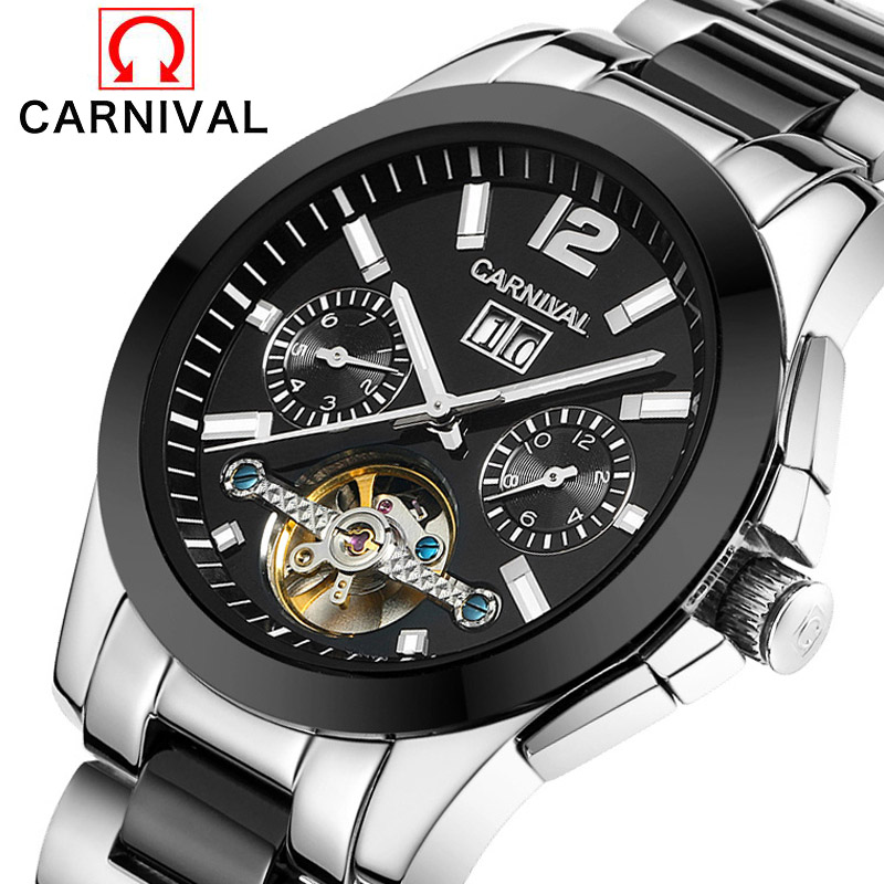 2017 New Genuine Carnival Brand Men watch full steel automatic mechanical openwork watch fashion Tourbillon watch Relogio box