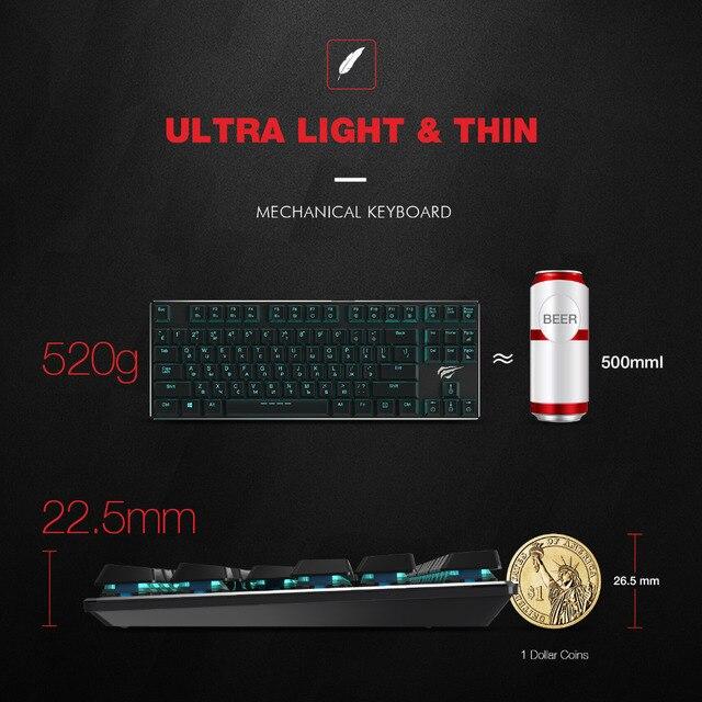 HAVIT Mechanical Keyboard 87 Keys Ultra Low Axis Extra-Thin Mini Gaming Keyboard Blue Switche for PC/Laptop HV-KB390L(Russian) 2