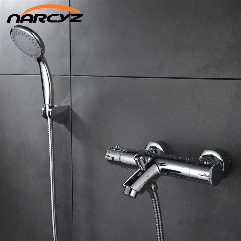 Free shipping New Design Polished Chrome Solid Brass Bath Thermostatic Shower Faucet With Bend Angle XT329 china sanitary ware chrome wall mount thermostatic water tap water saver thermostatic shower faucet