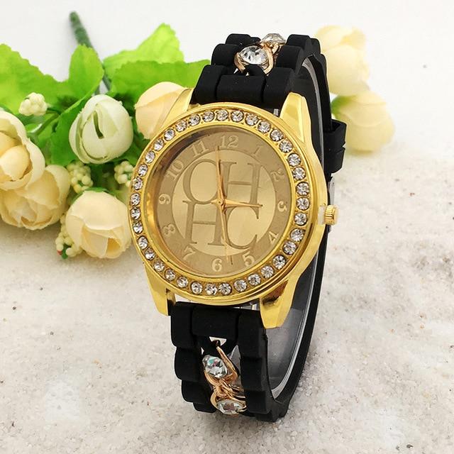 7eddeab3a73 Nova Marca Famosa Mulheres Liga de Ouro Cadeia Casuais Relógio De Quartzo  Das Mulheres Relógios Relogio feminino Senhoras Relógio de Cristal De  Silicone ...