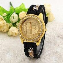 Новый известный бренд Для женщин золотой цепи сплава Повседневное кварцевые часы Для женщин Кристалл Силиконовые Часы Relogio feminino дамы часы Горячие