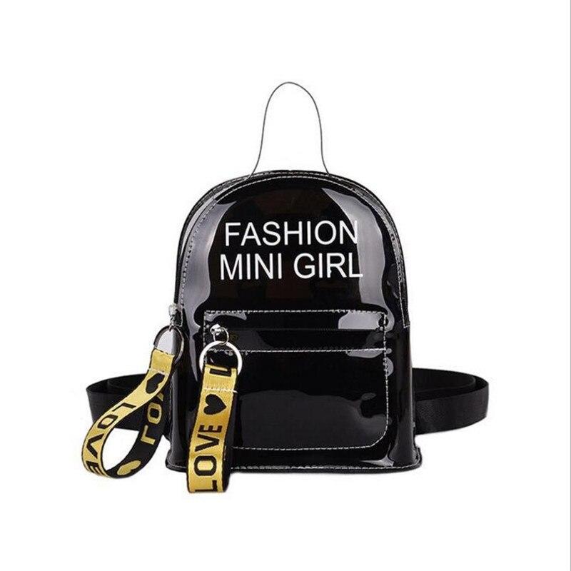PVC Mini Size Transparent Women Backpacks Clear PVC Teenager Girls Zipper Student School Backpack Travel Bag Mochila Feminina