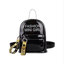 PVC Mini Size Transparent Women Backpacks Clear Teenager Girls Zipper Student School Backpack Travel Bag Mochila Feminina