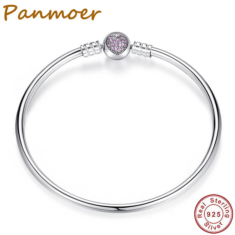 Authentic 100% 925 Sterling Silver Snake Chain Heart Bangle & Bracelet for women fit pan ...