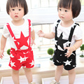 015 Brand children clothes suit new summer print stars cotton girls short sleeve t shirt Overalls 2-piece Outfit clothing sets