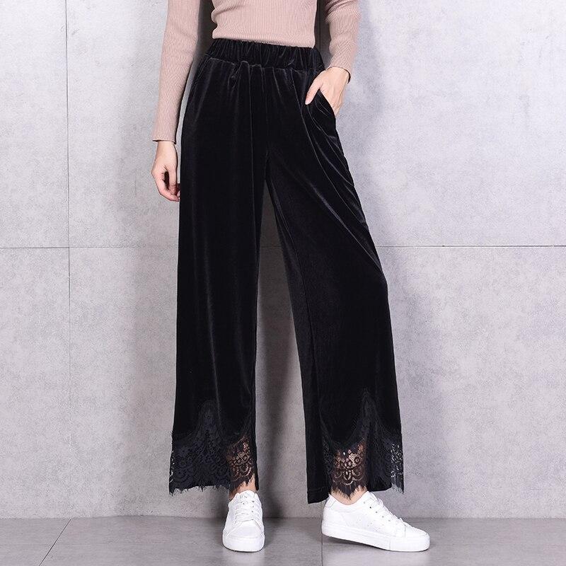WKOUD 2018 Fall   Wide     Leg     Pants   For Women Black Pleuche Soft Material Lace Patchwork Trousers Elastic Waist Loose   Pant   P8448