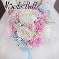 2017 Искусственный Свадебные Букеты Ручной с Цветами в Руках Розовые Розы Невесты Свадебные Букеты Синий Гортензия Bruidsboeket