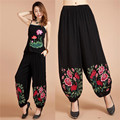 National Style Women's Lace Pants Embroidered Long Pants Cotton and Linen Pants Loose Waist Loose Loose Pants Large Summer Thin