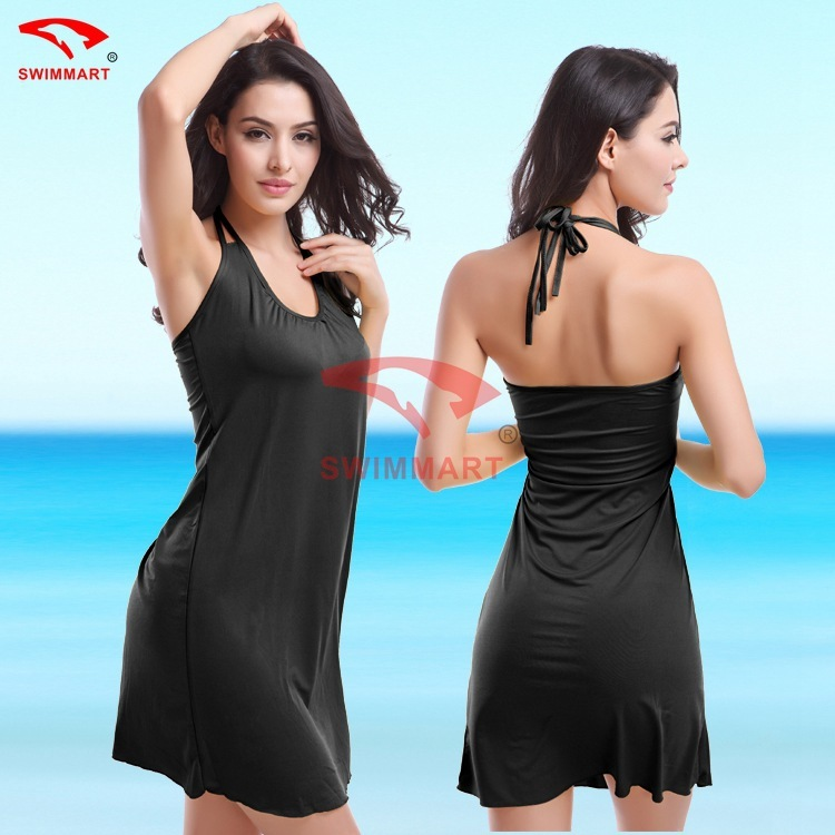 Seaside Beach wear swimsuit cover up Skirt Sexy Halter Dress Bikini Top Large Size Vacation sarong beachwear robe de plage