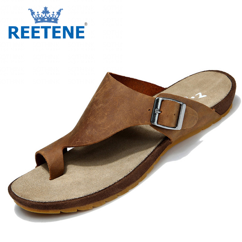 Genuine Leather Men'S Flip Flops Shoes Fashion Beach Sandals Summer Slippers Men Casual Sandalias Chaussons - REETENE store