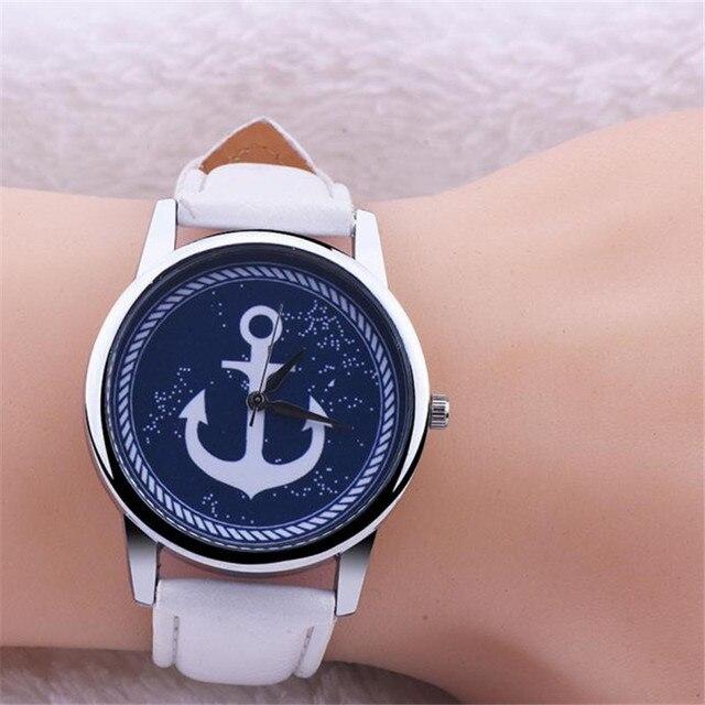 Brand Charming Dress watch Women's Ladies wristwatch Vintage Design Anchor Dial Hour Leather Belt Quartz Watch montre femme luxe
