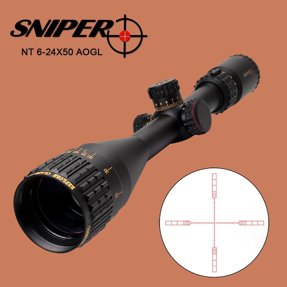 SNIPER NT 6-24X50 AOGL 사냥 전술 광학 사이트 전체 크기 유리 에칭 된 레티클 RGB 대형 렌즈가 장착 된 라이플 범위