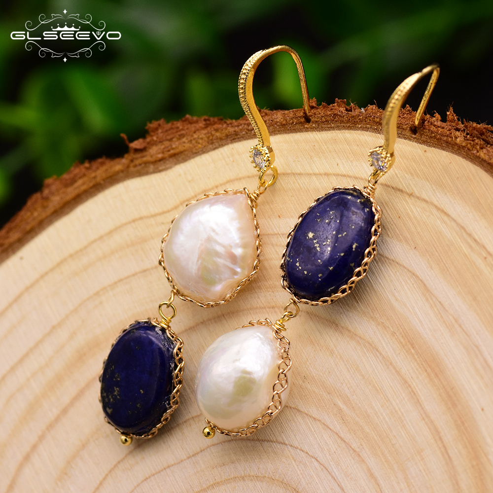 GLSEEVO Natural Stone Lapis Lazuli Water Drop Earrings Fresh Water Baroque Pearl Long Dangle Earring Women Luxury Jewelry GE0406 best lady special design bohemian wedding natural fresh water pearls earring women fashion dangle jewelry multi color earrings